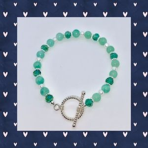 Mint Green, Green Faceted and White Pearl Bracelet